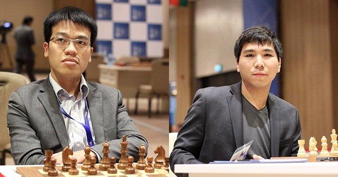 Quang Liem (kiri) kalah dari Wesley So dalam konfrontasi terakhir, di semifinal turnamen catur online Banter Series pada September 2020.