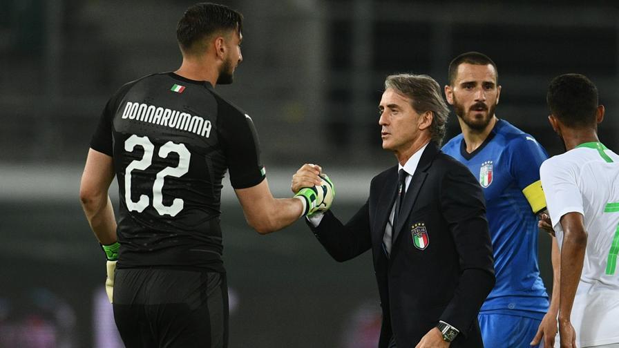 Mancini lạc quan ngay từ trận đầu dẫn dắt Italy - trận giao hữu với Saudi Arabia cuối tháng 5/2018. Ảnh: ANSA