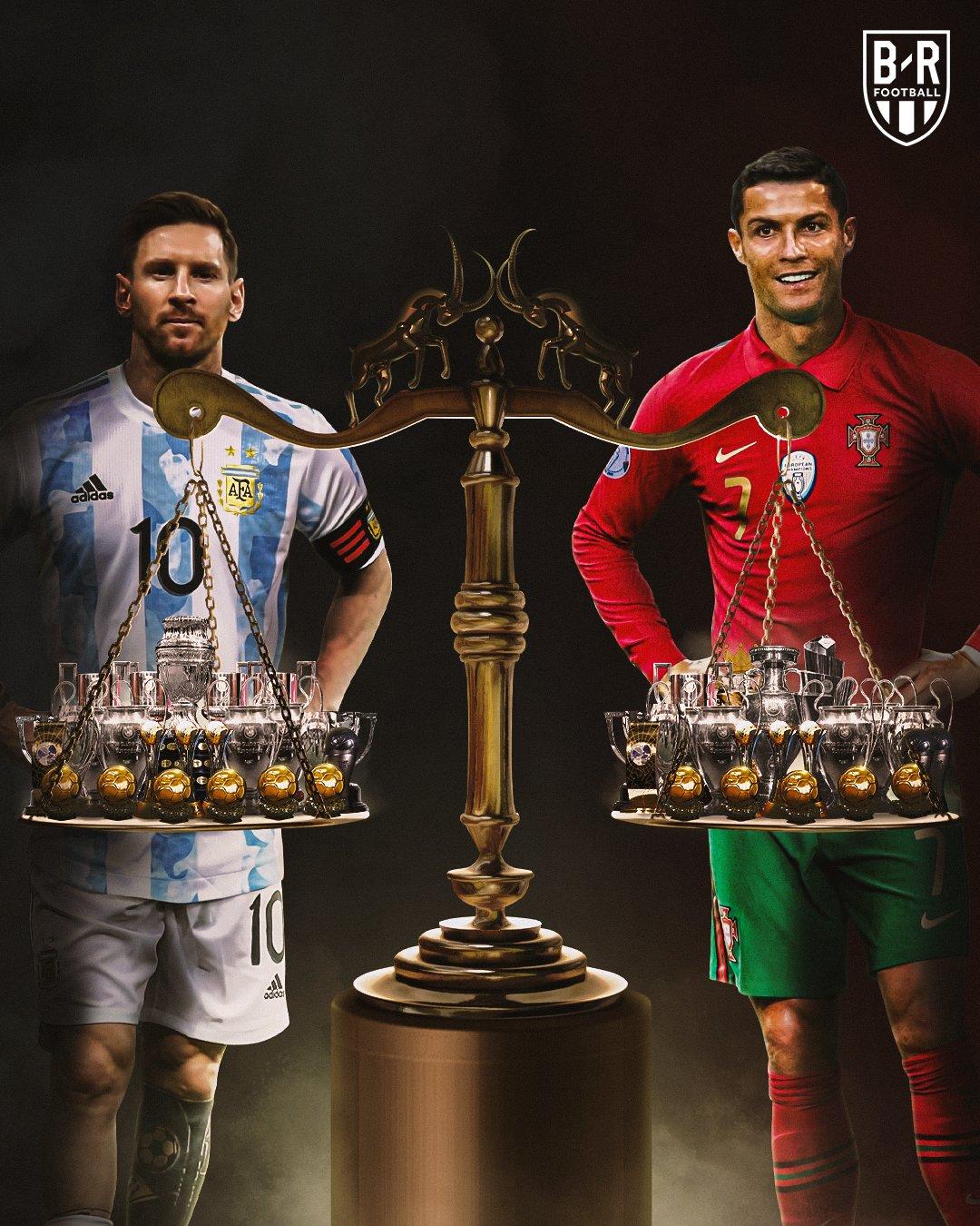 Bộ sưu tập danh hiệu của Messi và Ronaldo.