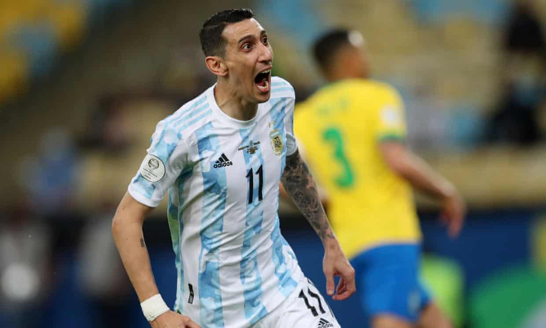 Di Maria merayakan satu-satunya gol di final Copa America 2021. Foto: Reuters