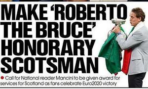 HLV Mancini được đề xuất 'Công dân danh dự Scotland'
