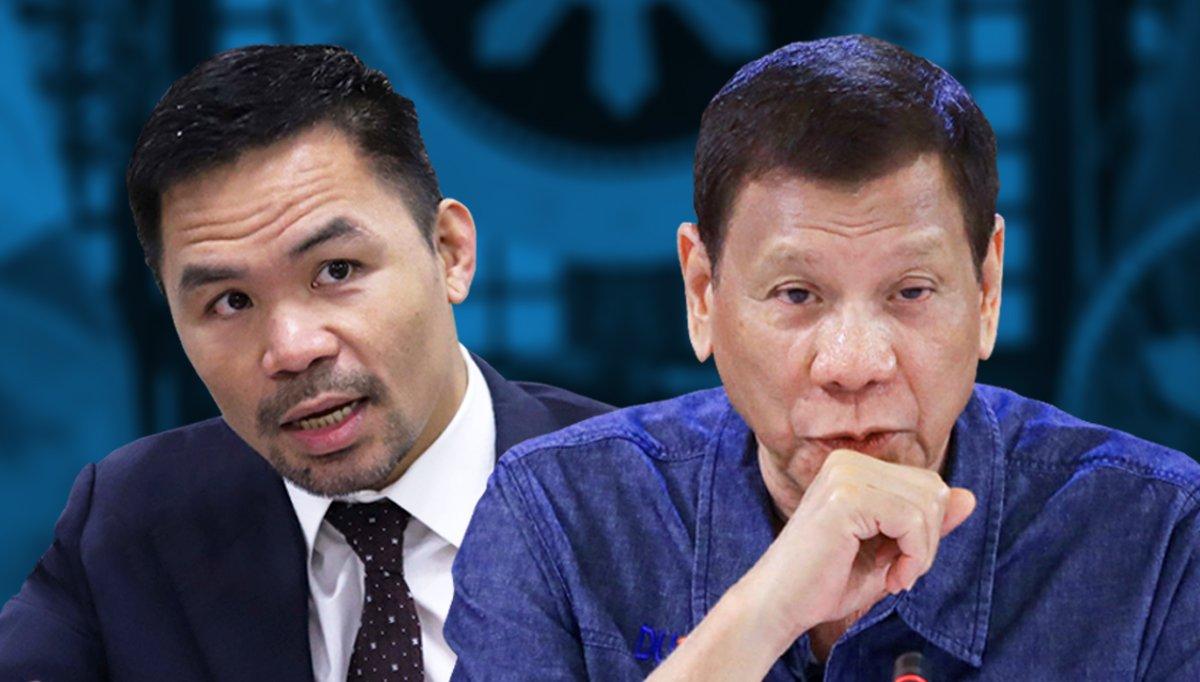 Pacquiao đang nổi lên như là đối thủ chính trị của Tổng thống sắp mãn nhiệm Duterte. Ảnh: Inguirer