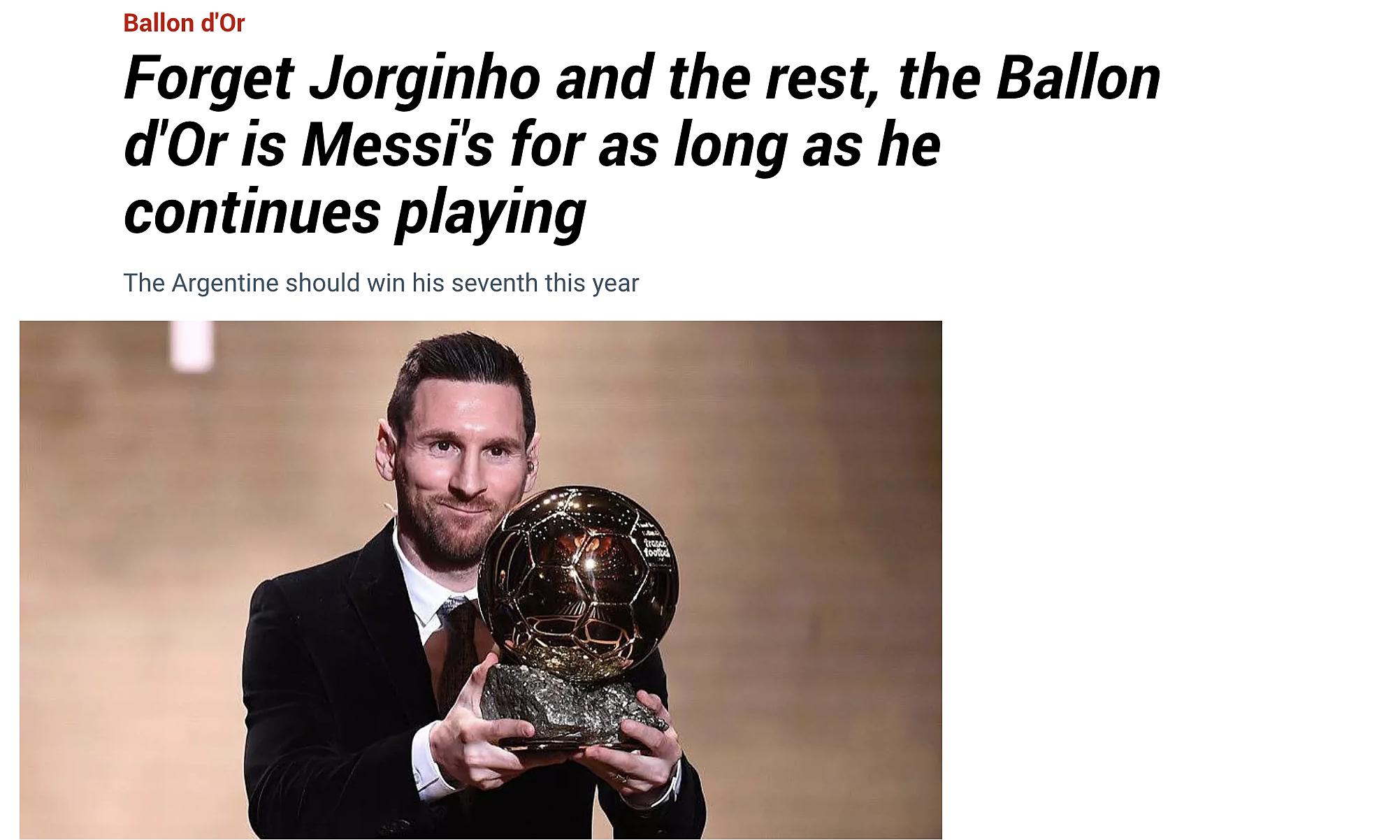 Bài viết tôn vinh Messi trên trang chủ báo Marca. Ảnh: chụp màn hình