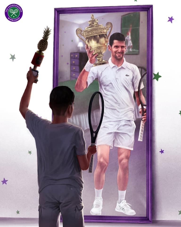 Bức tranh diễn tả giấc mơ vô địch Wimbledon trở thành hiện thực của Djokovic. Ảnh: Facebook