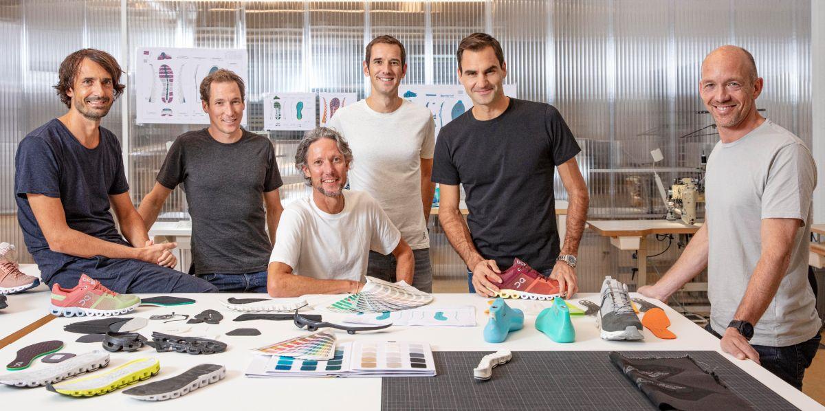 Federer và các cộng sự ở công ty giày ON. Ảnh: Forbes