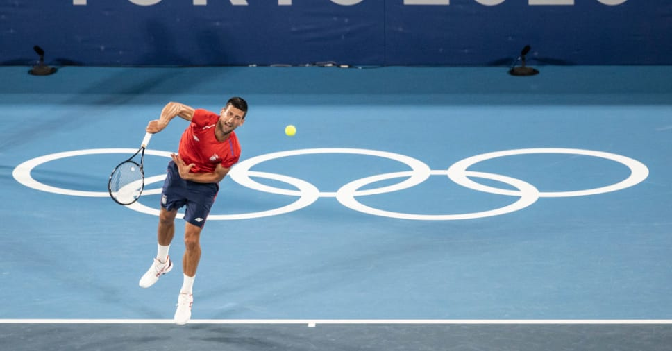 Djokovic tập buổi đầu ở Tokyo hôm 21/7. Ảnh: Olympic