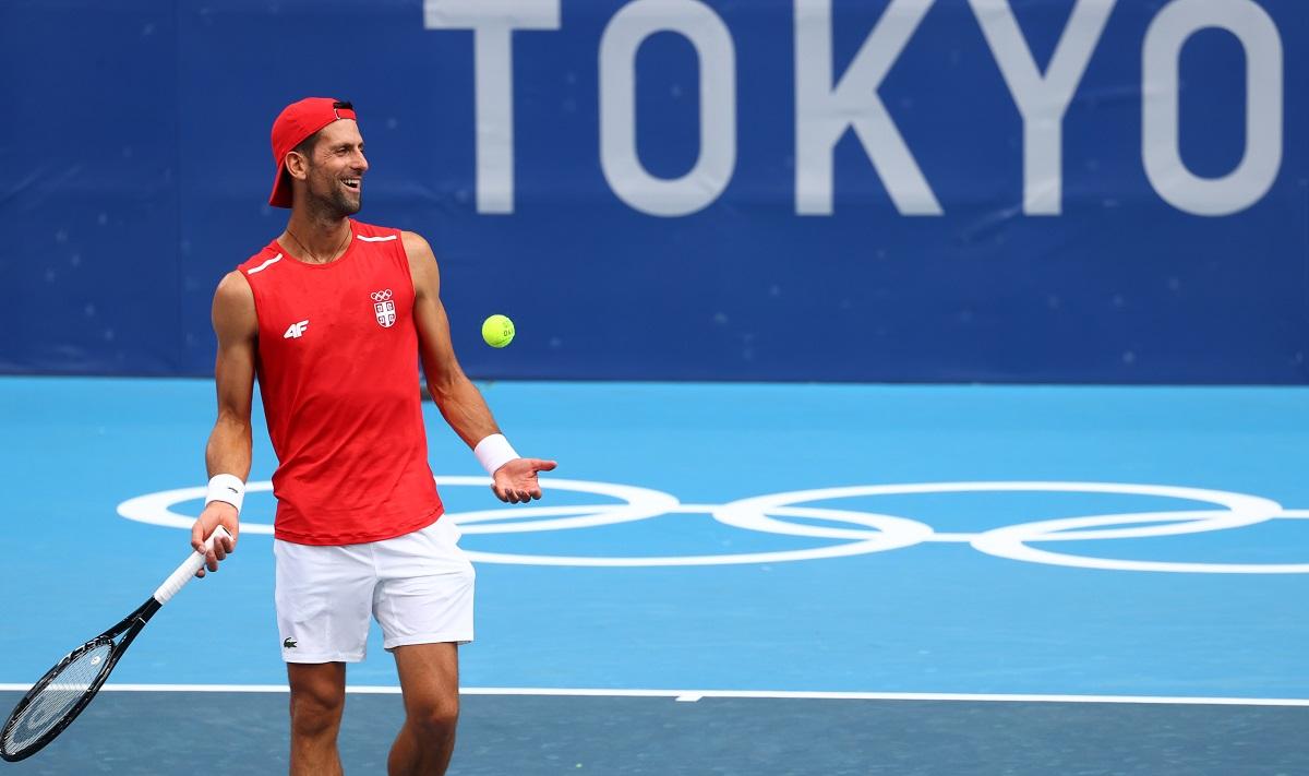 Djokovic tập ở Tokyo hôm 22/7. Anh từng giành HC đồng Olympic Bắc Kinh 2008. Ảnh: Olympic