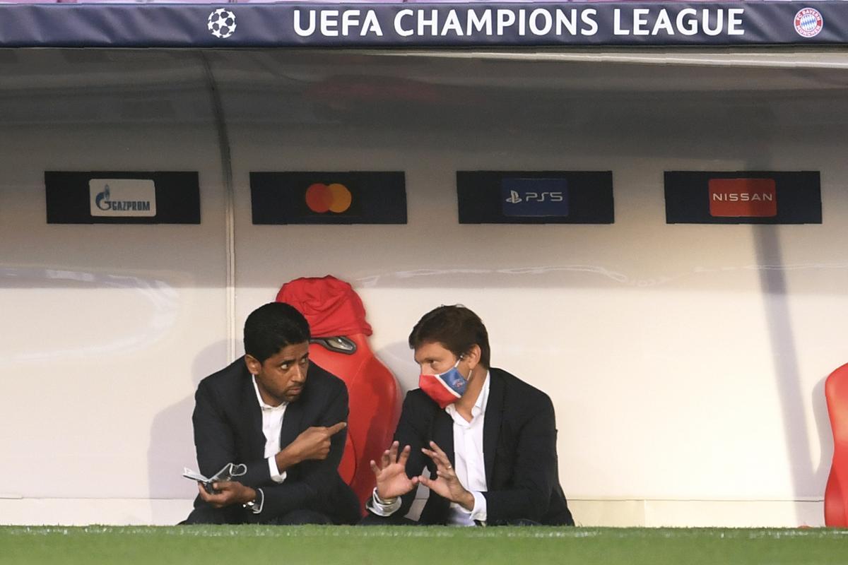 Tranh thủ việc UEFA nới lỏng, Al-Khelaifi và Giám đốc Thể thao Leonardo  sẽ tiếp tục mua sắp để tăng cường nhân lực cho tham vọng vô địch Champions League - vinh quang mà PSG tiến rất gần ở hai mùa vừa qua. Ảnh: AFP