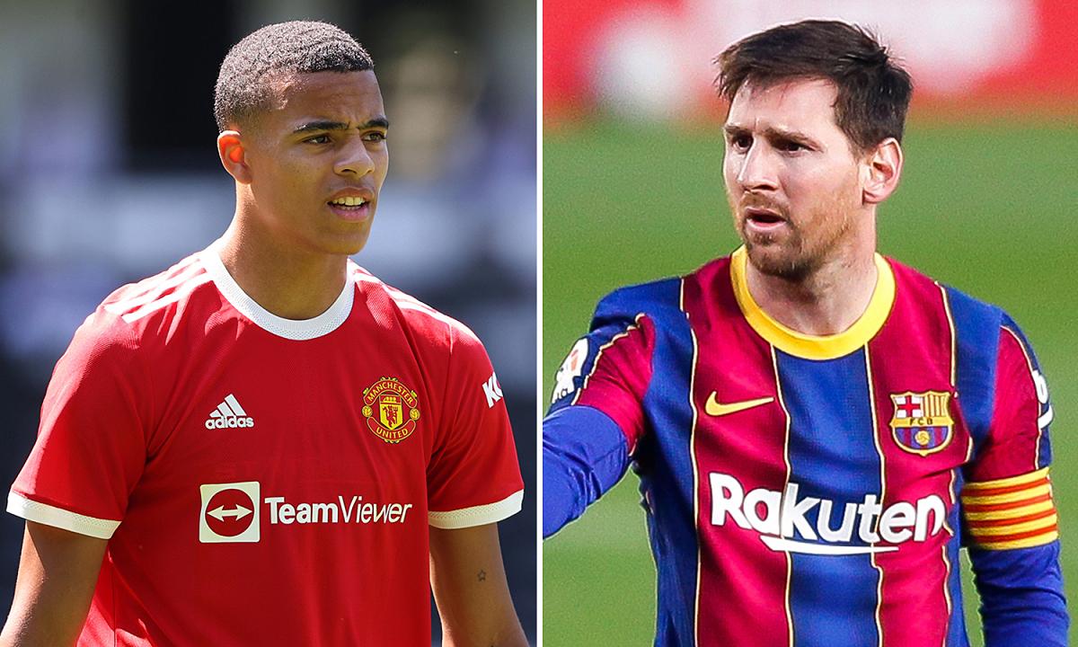 Greenwood (trái) đang chơi cho Man Utd nhưng đánh giá Lionel Messi cao hơn hẳn Cristiano Ronaldo. Ảnh: Scottishsun