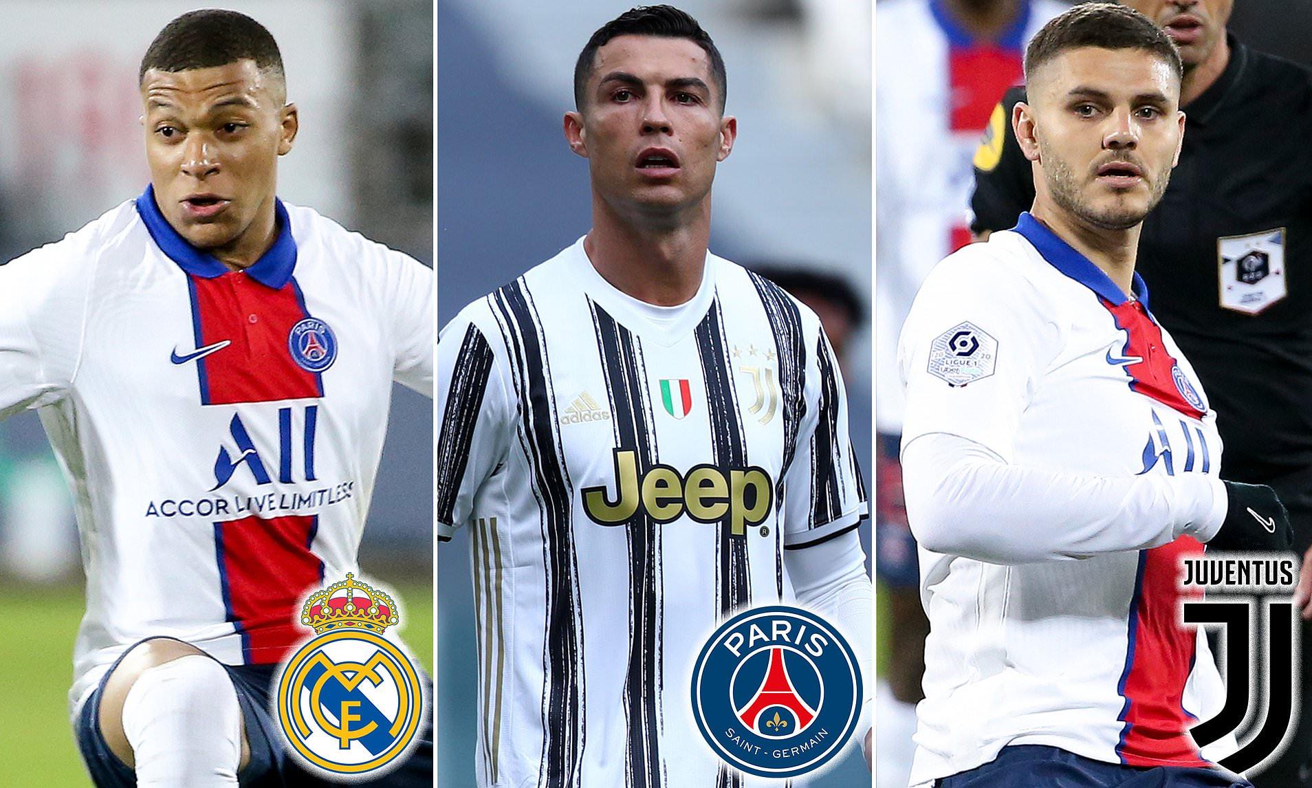 Kịch bản domino được mong đợi giữa ba ngôi sao Mbappe - Ronaldo - Icardi. Ảnh: Sports Mail