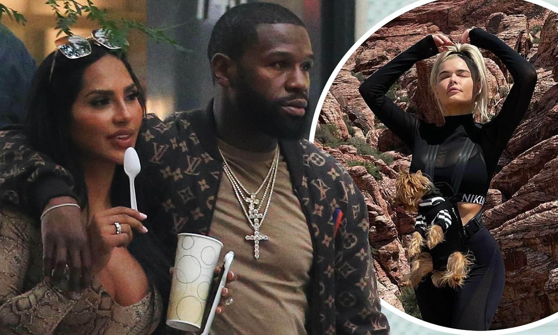 Mayweather khoác vai bạn gái cũ Nabila trên phố New York, trong khi Monroe đi nghỉ hè ở Las Vegas. Ảnh: Mega
