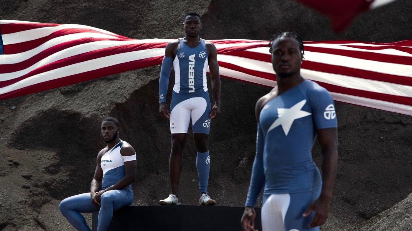 Ba VĐV Liberia sẽ thi đấu tại Olympic 2020 với trang phục do Telfar thiết kế. Ảnh: Telfar