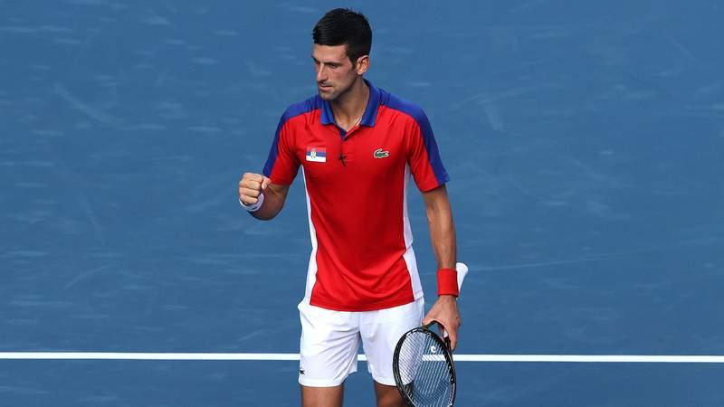 Djokovic chưa thua set nào sau hai vòng đầu Olympic Tokyo. Ảnh: ESPN