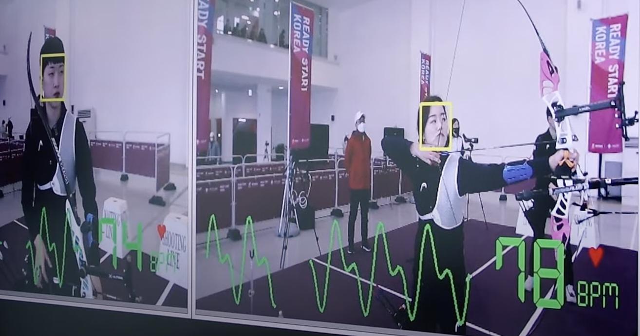 Video ghi lại chỉ số nhịp tim của cung thủ Hàn Quốc trong một buổi tập trước thềm Olympic 2020. Ảnh: chụp màn hình