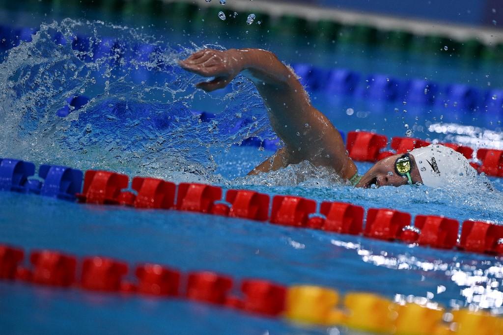 Ánh Viên thi loại nội dung 800m tự do tại Cung thể thao dưới nước Tokyo chiều 29/7, ở Olympic 2020. Ảnh: AFP.