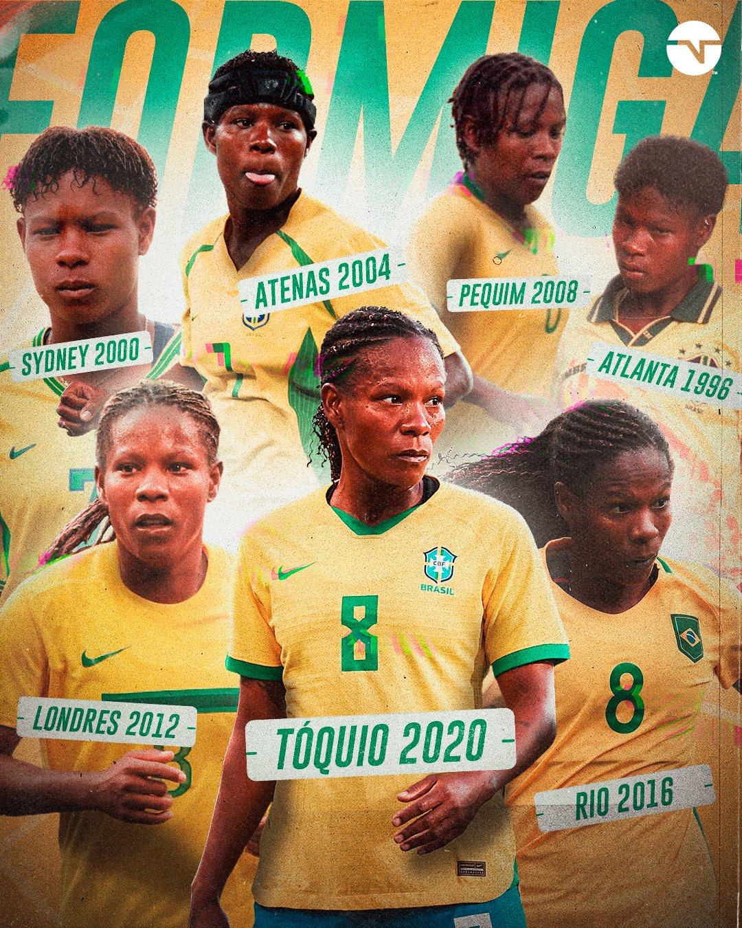 """ฟอร์มิก้าเป็นสีของทีมหญิงชาวบราซิลเจ็ดครั้งในการแข่งขันกีฬาโอลิมปิก  ภาพถ่าย: """"TNT ."""""""