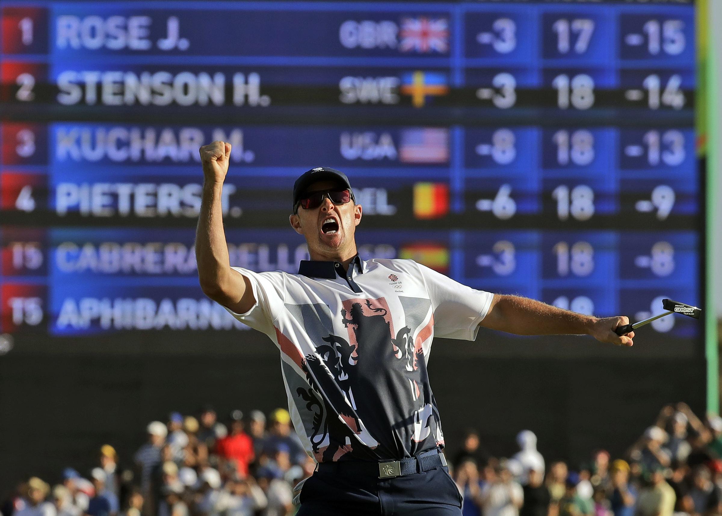 Justin Rose phấn khích khi giành HC vàng đơn nam golf ở Olympic Rio 2016. Ảnh: AP