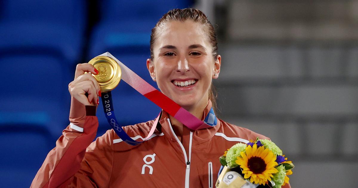 Bencic từng lỡ Olympic Rio 2016 vì chấn thương. Cô đoạt HC vàng ngay lần đầu tham dự đấu trường này. Ảnh: NBC