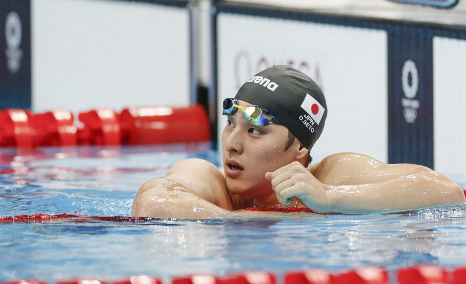 Biểu cảm quen thuộc của Seto sau mỗi lần về đích tại Olympic Tokyo 2020. Ảnh: Kyodo