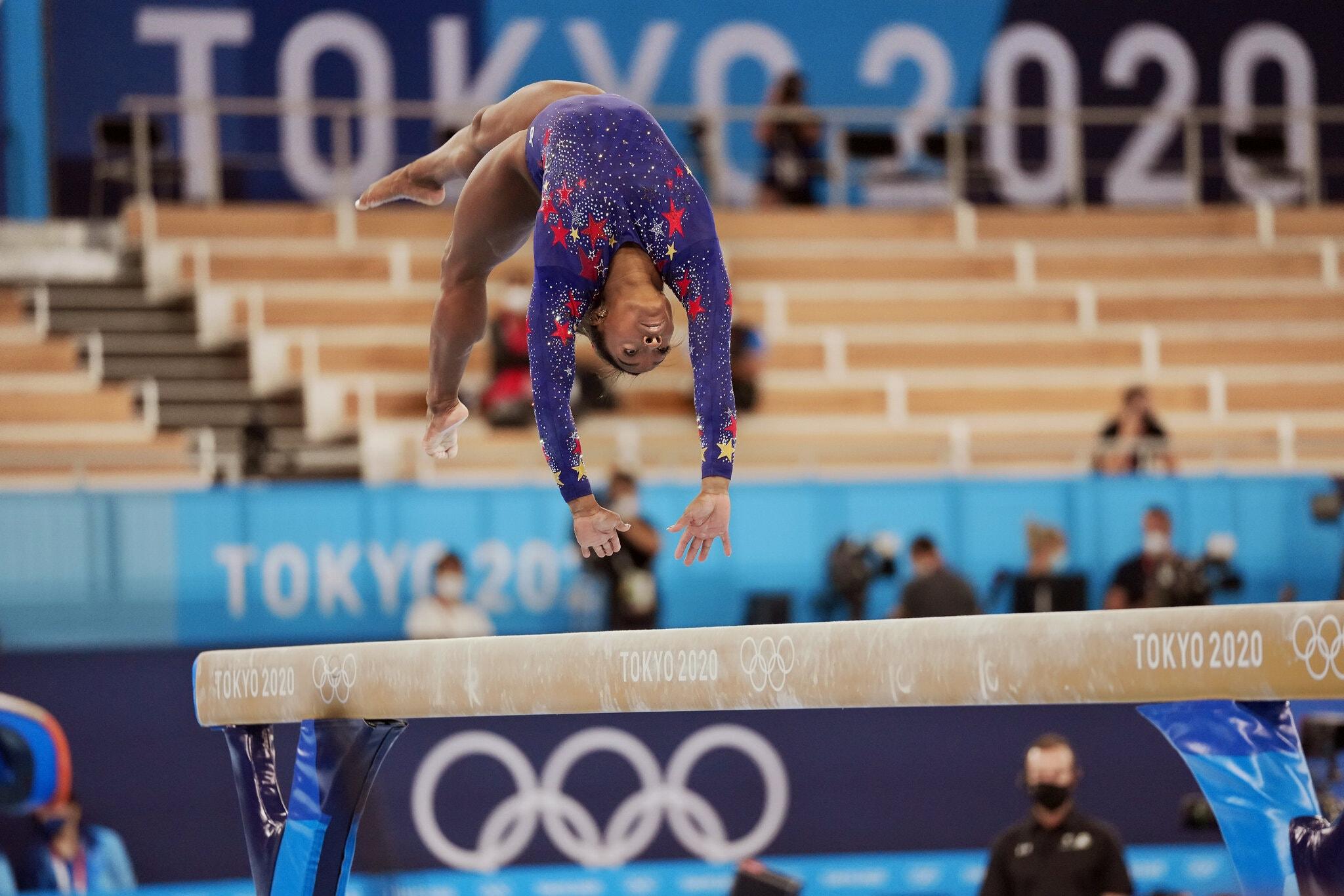 Cầu thăng bằng sẽ là nội dung thứ hai, và là cuối cùng Biles thi đấu tại Olympic Tokyo 2020. Ảnh: NYT