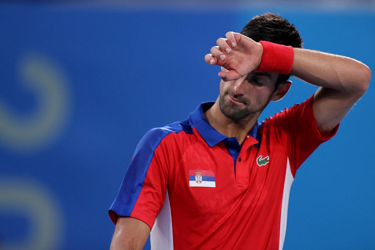 Thất bại ở Olympic Tokyo khiến Djokovic lỡ cơ hội trở thành tay vợt nam đầu tiên đoạt Golden Grand Slam. Ảnh: Olympic