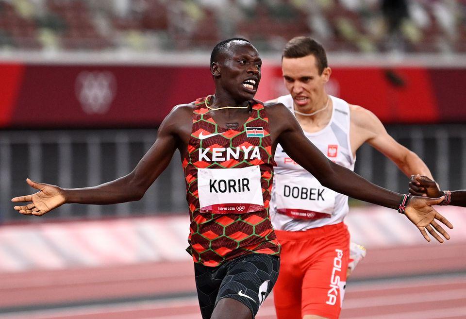 Korir giành HC vàng đầu tiên cho Kenya tại Olympi Tokyo. Ảnh: Reuters