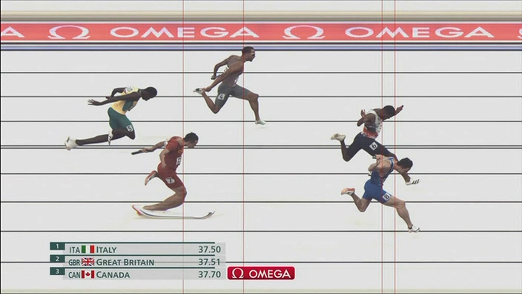 The moment Tortu (No. 8) reached the finish line before Mitchell-Blake exactly 1% of a second.  Photo: Tokyo 2020