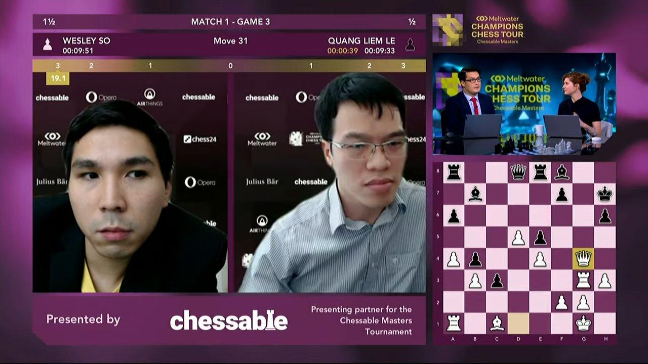 Thế cờ khiến Quang Liêm xin thua ở ván thứ ba, khi Trắng doạ chiếu hết với hậu g8. Nếu Đen chạy tượng đi, hậu sẽ chiếu hết ở g7.