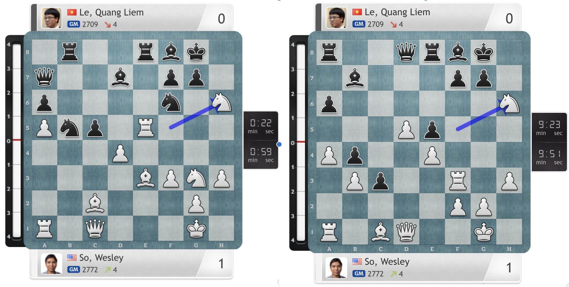 Mấu chốt khiến Quang Liêm thua ở cả hai ván cầm quân đen tại ngày chung kết đầu tiên. Ảnh: Chess24
