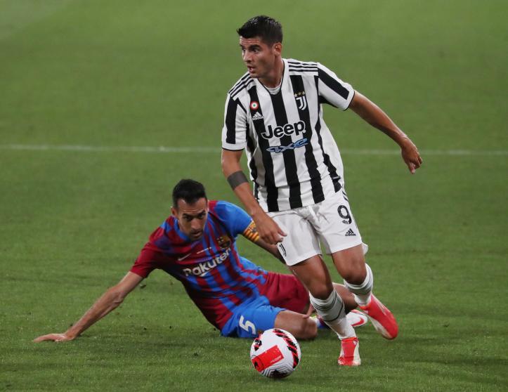 """โมราต้า (หมายเลข 9) และการโจมตีของยูเวนตุสไม่สามารถยอมรับ Barca ได้  ภาพถ่าย: """"Mundo Deportivo"""""""