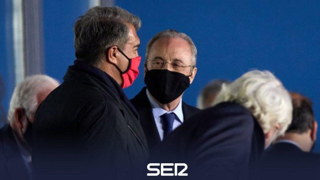 Laporta và Perez được cho là có quan hệ hữu hảo, bất chấp sự kình địch giữa Barca với Real. Ảnh: SER