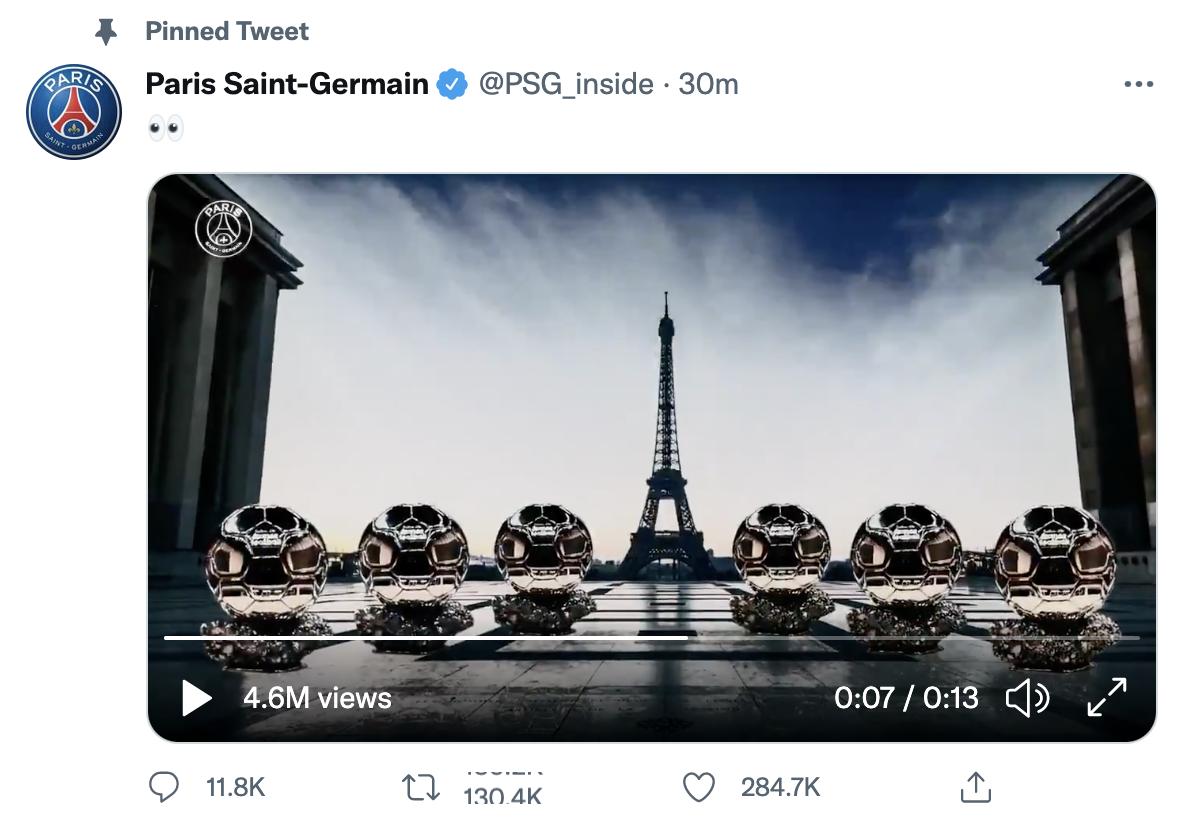 รูปภาพของลูกบอลทองคำหกลูกที่วางอยู่หน้าหอไอเฟลและเจ้าของสามารถเป็นเมสซี่เท่านั้น  ภาพหน้าจอ