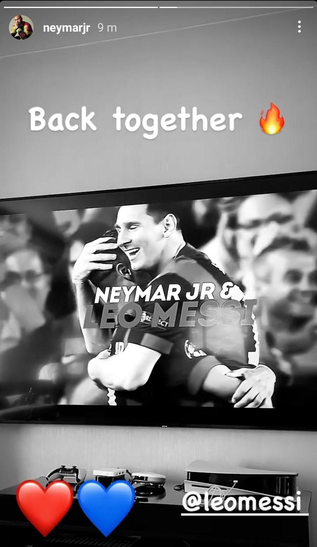 Neymar đăng tin chào đón Messi. Ảnh: Instagram/NeymarJr.