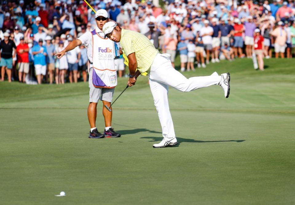 Matsuyama in the moment when the ball hit the rim of hole 18. Photo: Daily Memphian