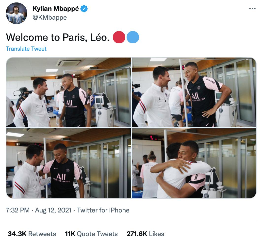 Dòng tweet chào đón Messi của Mbappe nhận được lượng Thích, Trích dẫn và chia sẻ lớn ngay trong hai tiếng đồng hồ đầu tiên. Ảnh chụp màn hình