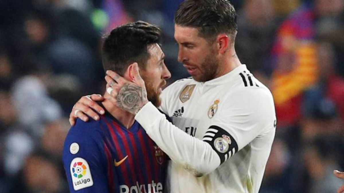 Sau 16 năm liền làm đối thủ, Ramos và Messi thành đồng đội. Ảnh: Reuters