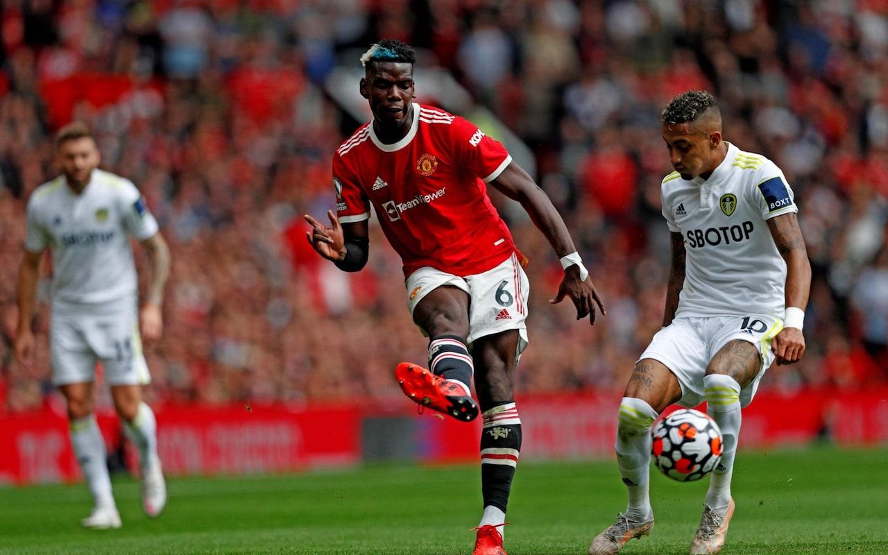 Pogba kiến tạo bốn trong năm bàn của Man Utd trận này. Cả mùa trước, anh chỉ có đúng ba pha kiến tạo thành bàn trong 26 lần ra sân ở Ngoại hạng Anh. Ảnh: AFP