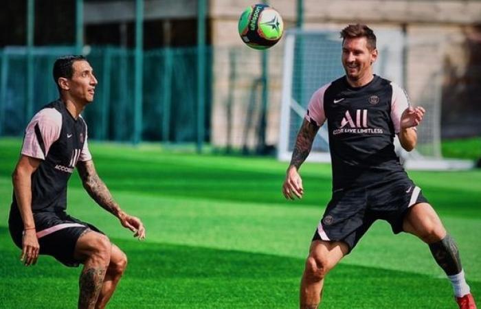 Di Maria ฝึกซ้อมกับ Messi ที่ PSG เมื่อวันที่ 13 สิงหาคม  รูปถ่าย: psg.fr