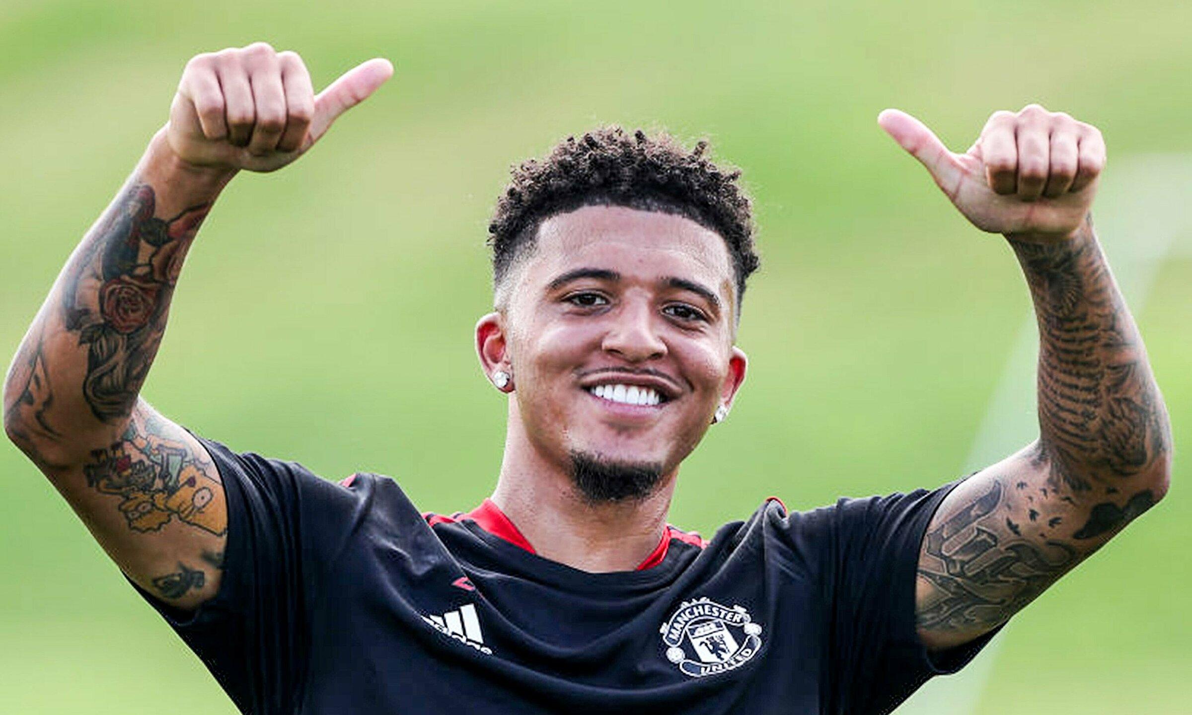 Sancho ในการฝึกซ้อมครั้งแรกกับ Man Utd เมื่อวันที่ 9 สิงหาคม  ภาพ: Manutd.com