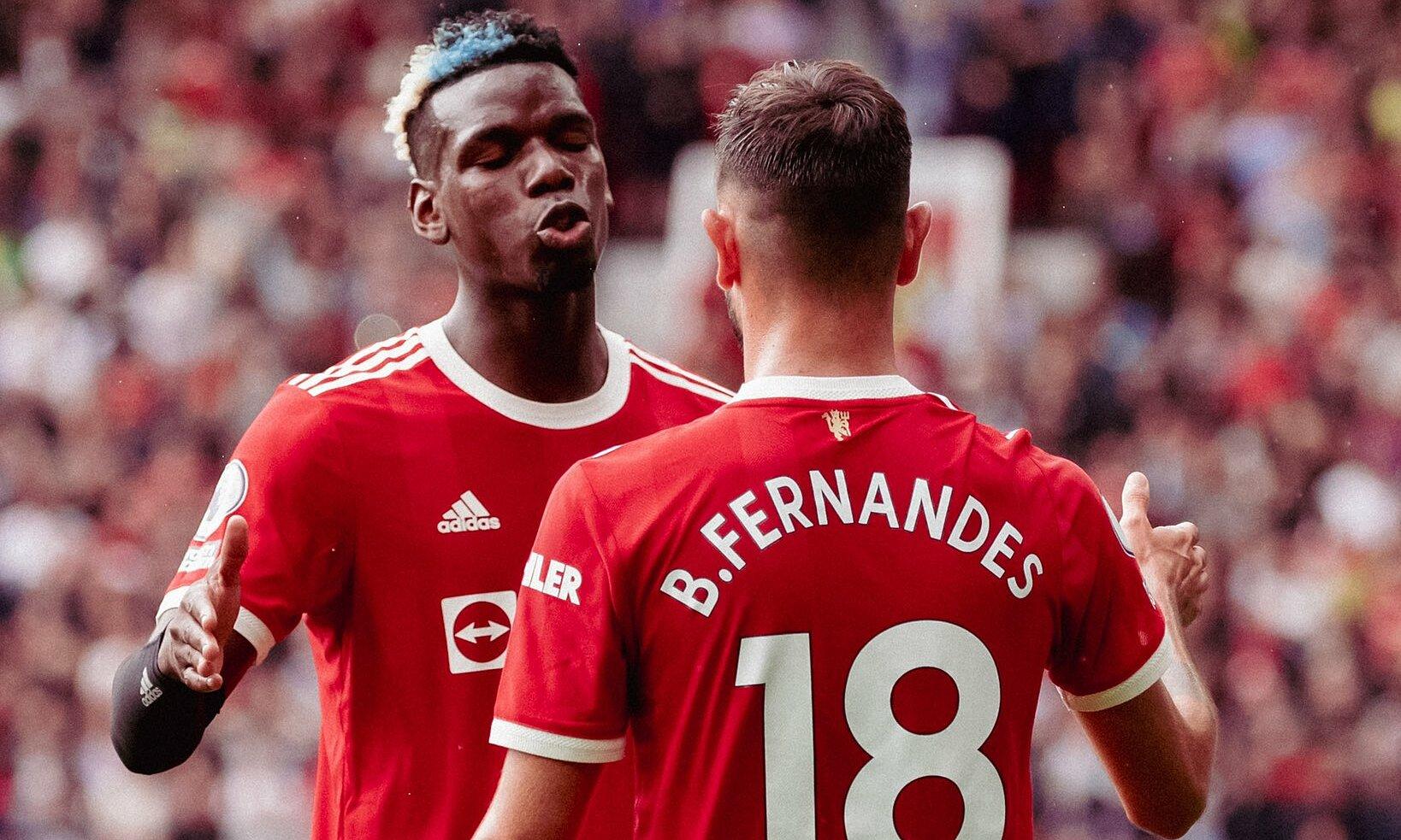 Pogba เล่นได้ดีมากกับ Fernandes ในชัยชนะ 5-1 เหนือลีดส์เมื่อวันที่ 14 สิงหาคม  ภาพ: ทวิตเตอร์ / แมนฯ ยูไนเต็ด