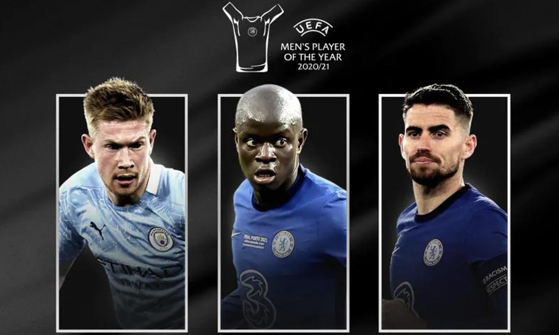 De Bruyne, Kante và Jorginho đứng trước lần đầu được vinh danh Cầu thủ hay nhất năm của UEFA. Ảnh: UEFA