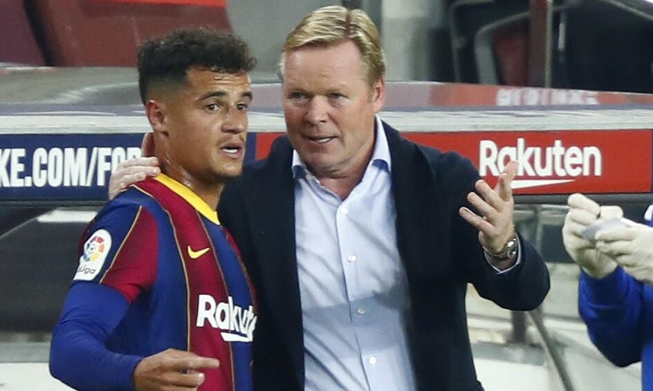Koeman trao đổi với Coutinho bên lề trận Barca - Villarreal ở La Liga hôm 27/9/2020. Mùa trước, vì chấn thương, Coutinho chỉ đá 12 trận ở La Liga, ghi hai bàn.