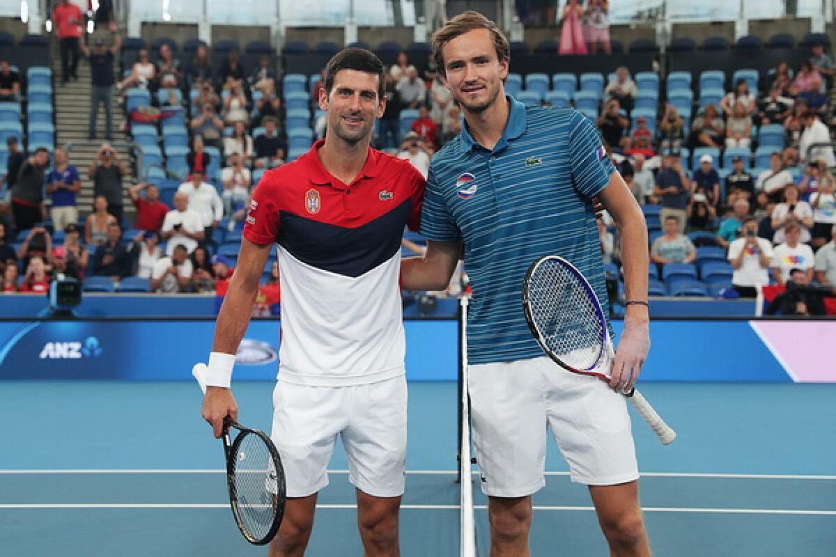 Medvedev và Djokovic là hai ứng viên nặng ký cho chức vô địch Mỹ Mở rộng 2021. Ảnh: ATP