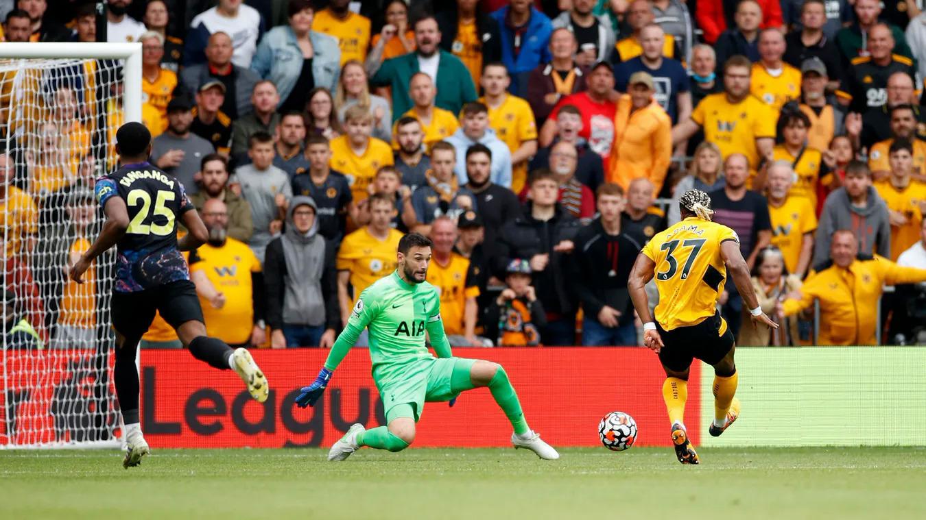 Adama không thắng được Lloris trong pha đối mặt ở phút 61. Đây là cơ hội ăn bàn tốt nhất của Wolves trận này. Ảnh: premierleague.com