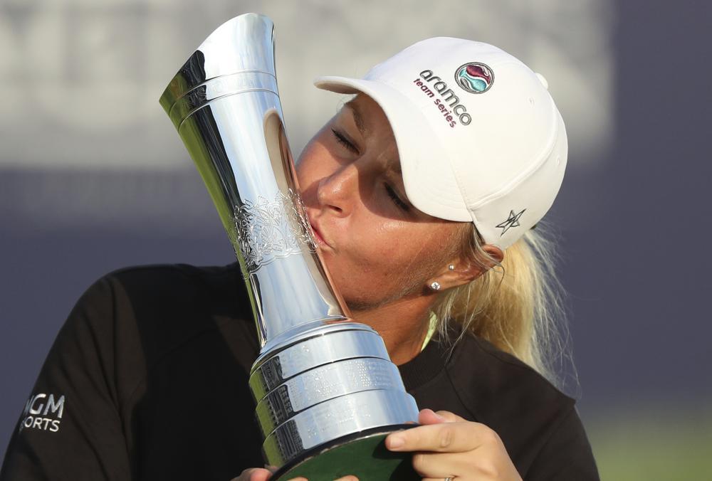 Nordqvist kisses the Womens Open trophy at Carnoustie on August 22.  Photo: AP