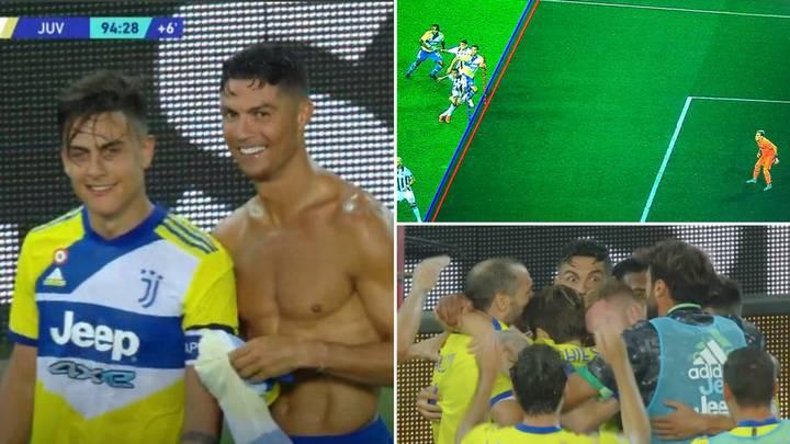 Tình huống Ronaldo cởi áo mừng bàn thắng hụt, do lỗi việt vị bởi khoảng cách không lớn. Ảnh: chụp màn hình
