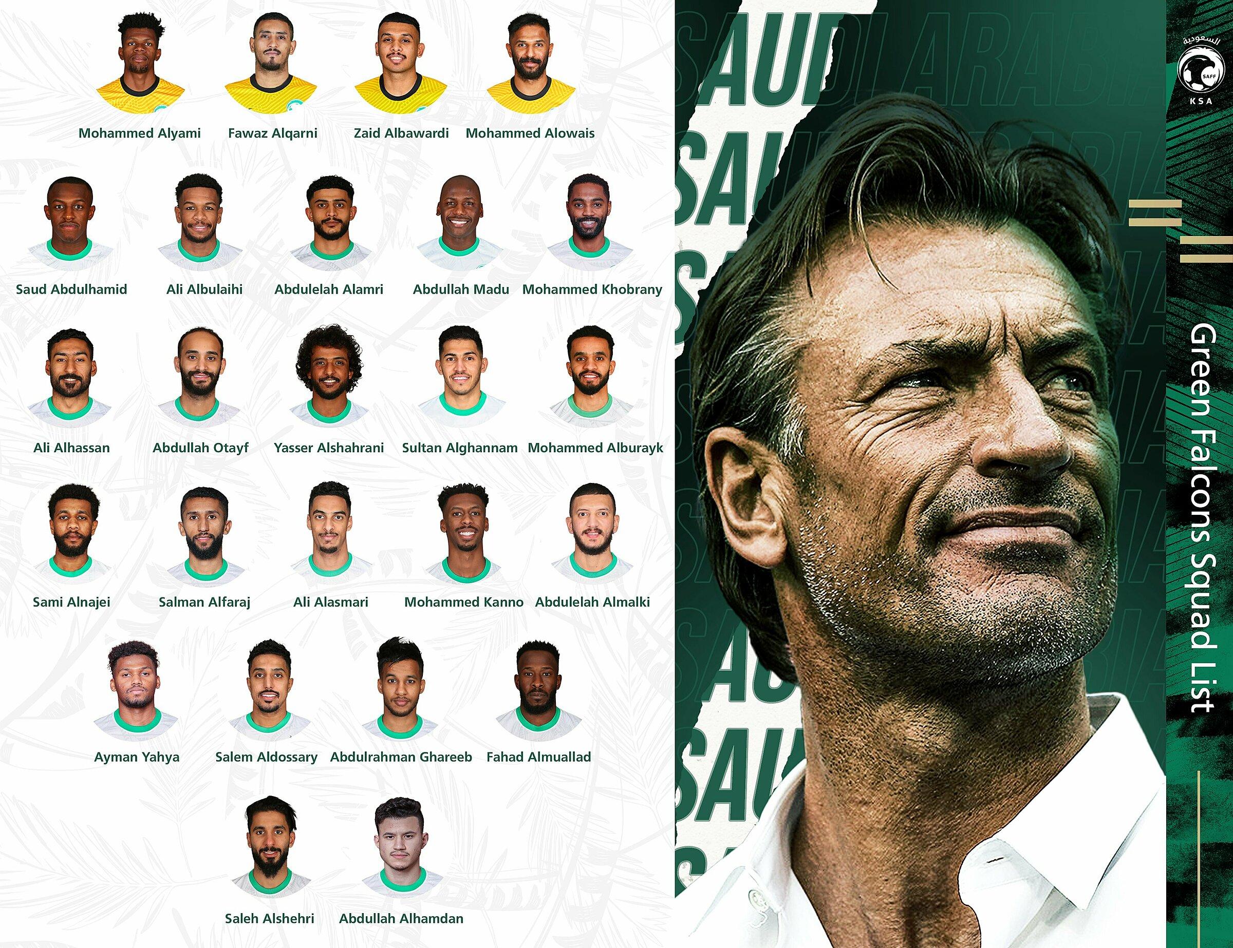 Danh sách đội tuyển Saudi Arabia. Ảnh: SNT