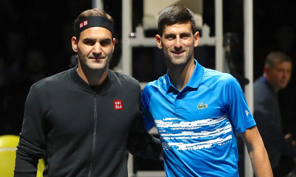 Federer và Djokovic đều đã có ba lần đoạt ba Grand Slam trong năm. Federer không thể đoạt cả bốn danh hiệu vì luôn thất bại tại Roland Garros. Ảnh: ATP