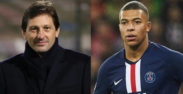 """Leonardo (ซ้าย) ในนามของ PSG ปฏิเสธข้อเสนอ 160 ล้านยูโรของ Real สำหรับ Mbappe เพราะเขาคิดว่าจำนวนเงินนั้นไม่เพียงพอ  ภาพถ่าย: """"AfrMag ."""""""
