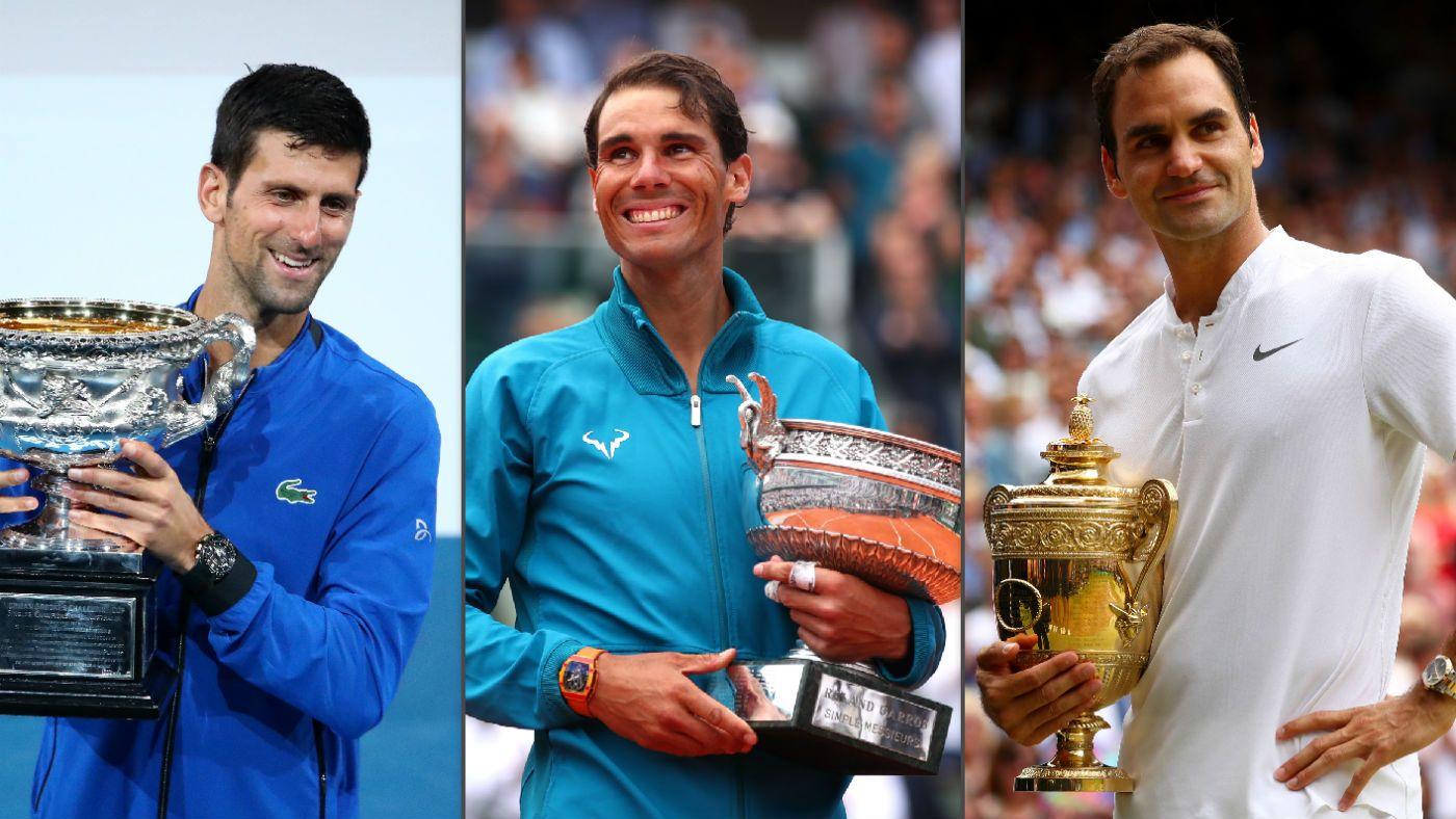 Djokovic đoạt tám Grand Slam trong bốn năm gần nhất, trong khi Nadal có bốn danh hiệu và Federer chỉ có một. Ảnh: ATP